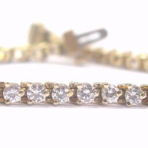 Jewelry - Fine 3-Prong Round Cut Diamond Tennis Bracelet Yel